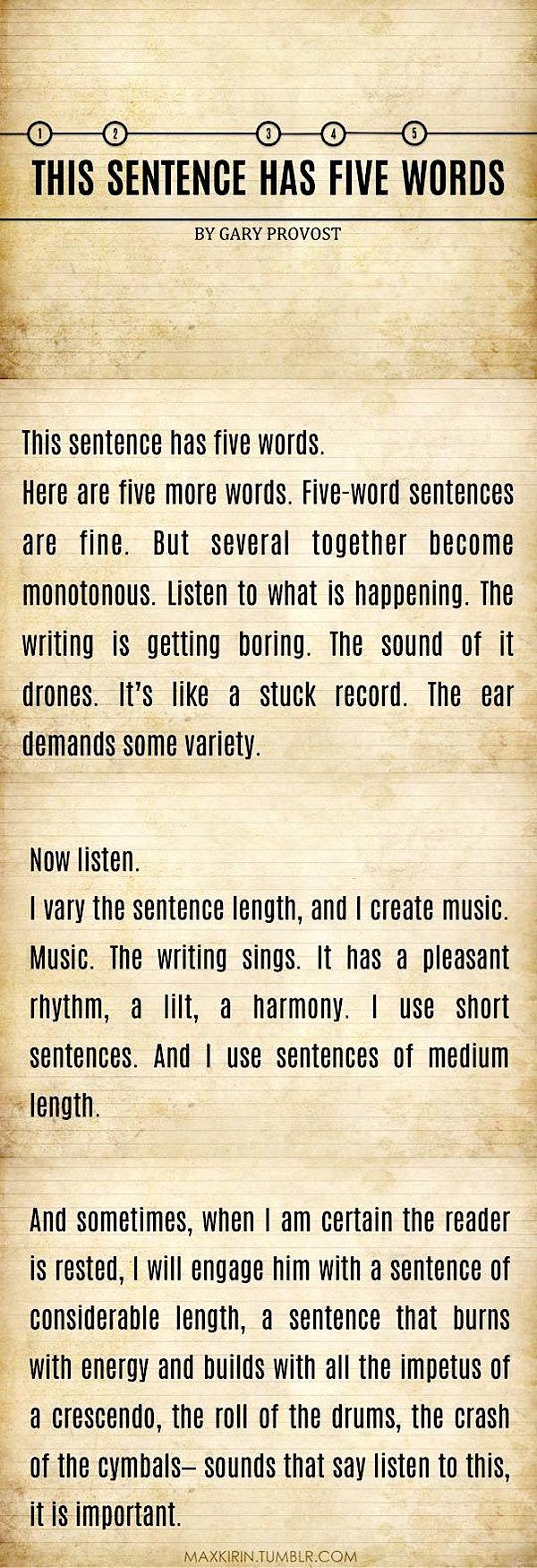 5 word sentences